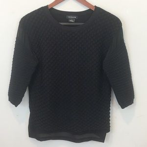TROUVE Textured 3/4 Length Sleeve Top